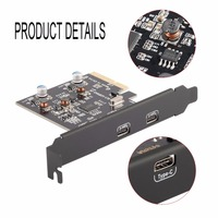 2 Type C Ports USB 3 1 10Gbps PCI E PCI Express Card Expansion Card Host