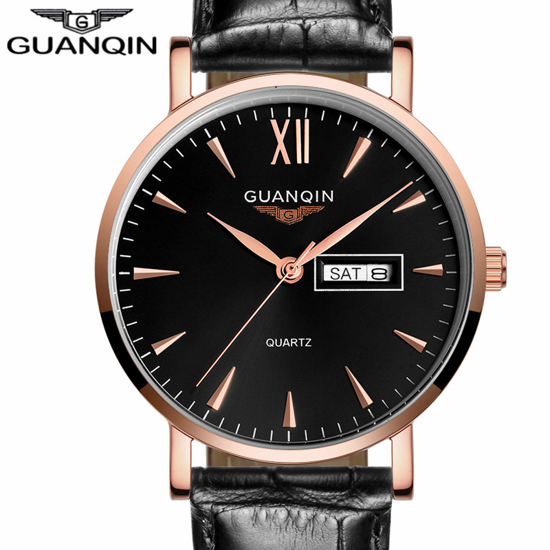 ФОТО Luxury Brand GUANQIN Mens Sport Watches Fashion Casual Leather Strap Quartz Watch Date Wristwatch relogio masculino Watch Men