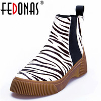 FEDONAS New Women Ankle Boots Autumn Winter Warm Horse Hair High Heels Shoes Woman Animal Prints Platforms Casual Party Boots