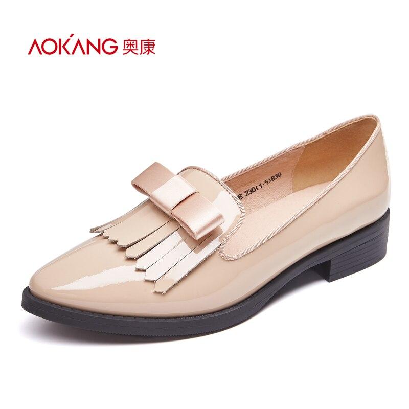ФОТО AOKANG 2016 autumn new sweet style women's  pumps fashion bowtie slip on shoes Genuine leather black/wine/apricot shoe wholesale