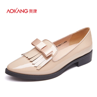 AOKANG 2016 Autumn New Sweet Style Women S Flat Pumps Fashion Bowtie Slip On Shoes Cow