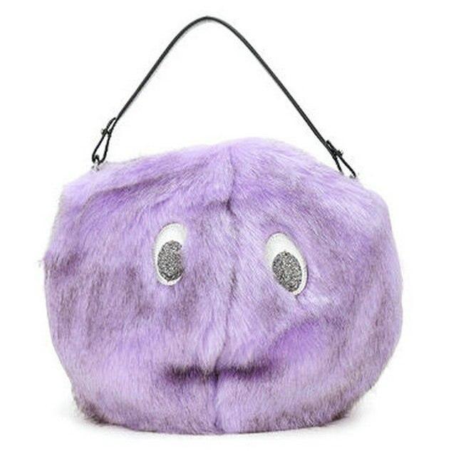 cf67115729a1 Trong New Arrival Fashion Winter Rabbit Fur Bag Animal Cartoon Bear  Shoulder Bag Round Tote Women s