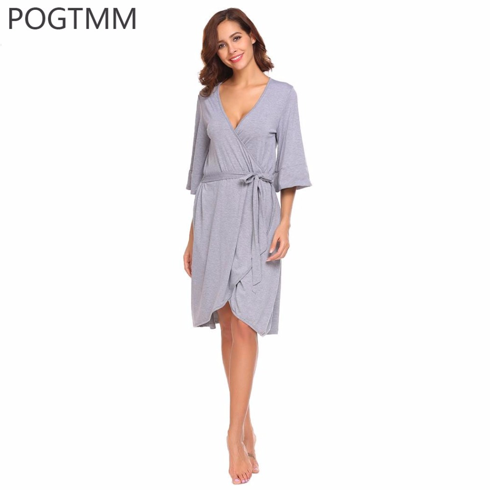 Spring 2018 Sexy Kimono Bath Robe Female Trumpet Sleeve Knee Length Dressing Gown Women Autumn Bathrobe Sleepwear Home Nightwear стоимость