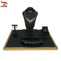 Edelstahl Schmuck Fenster Zähler Schaufenster Schwarz PU Halskette Ring Armband Anhänger Ohrring Ausstellungsstand Halter 52*38*39 cm