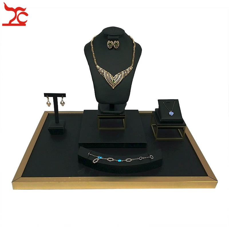 Stainless Steel Jewelry Window Counter Showcase Black PU Necklace Ring Bracelet Pendant Earring Display Stand Holder 52*38*39cm все цены