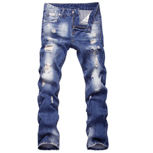 2016 new style hole patch beggars slim men jeans pants men's denim straight trousers 29-40 AYG26