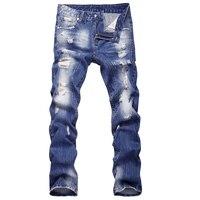 2016 New Style Hole Patch Beggars Slim Men Jeans Pants Men S Denim Straight Trousers 29