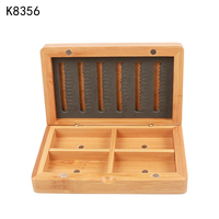 K8356 Fishing Tackle Box Hook Storage Case Outdoor Fishing Swivels Lure Bait Double Layer Bamboo Fly