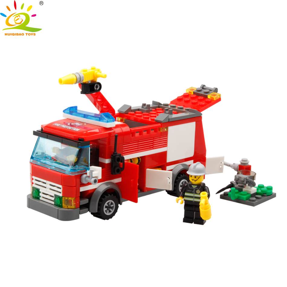 Blocks Toys & Hobbies Huiqibao Toys 206pcs Fire Fighting Sprinkler Cars Fireman Figures Building Blocks Compatible City Trucks Vehicles Bricks