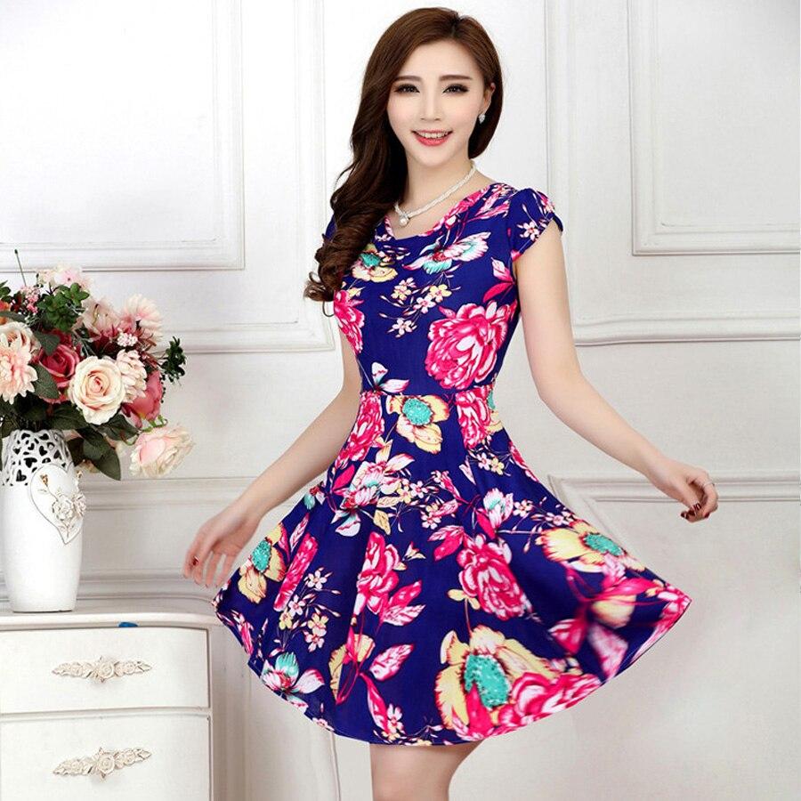 Plus size 4XL summer dress 2019 short sleeve V neck print floral casual mini women dress Female Ice silk dresses elegant