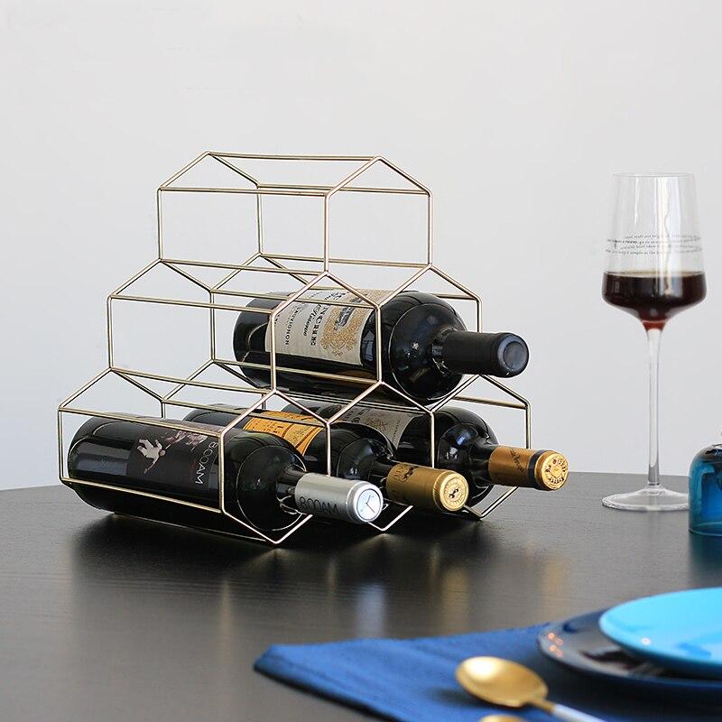 Northern Europe Metal Minimalism Hive Six hole wine rack Ornamental boilerplate shop wine cabinet decorated with red wine rack