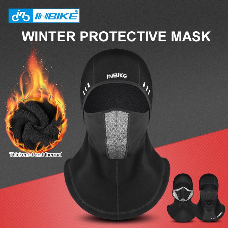 INBIKE Winter Face Mask Cap 2018 Thermal Fleece Ski Mask Face Snowboard Shield Hat Cold Headwear Cycling Face Mask Fiter Scarf coolchange 20006 cycling thicken fleeces face mask hat scarf black
