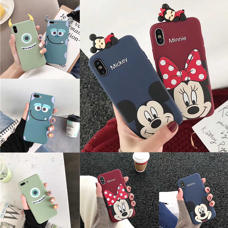 Minnie Mickey Sulley Mike Monsters Zachte TPU Toy Case voor Huawei P30 Pro P20 Lite P10 P Smart Plus Mate 10 20 9 Honor 8X Spelen