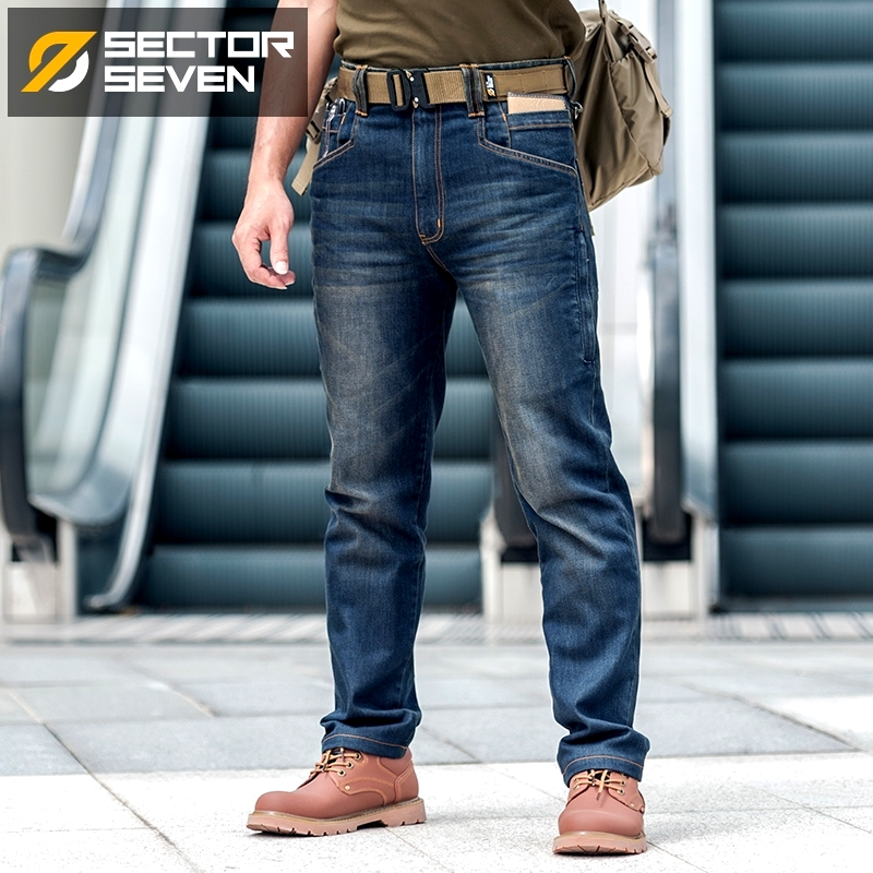 Sector Seven Men New Slim City Casual Jeans Mid Waist Straight Denim Jeans Classic Indigo Blue Black Jeans Wear-resistant