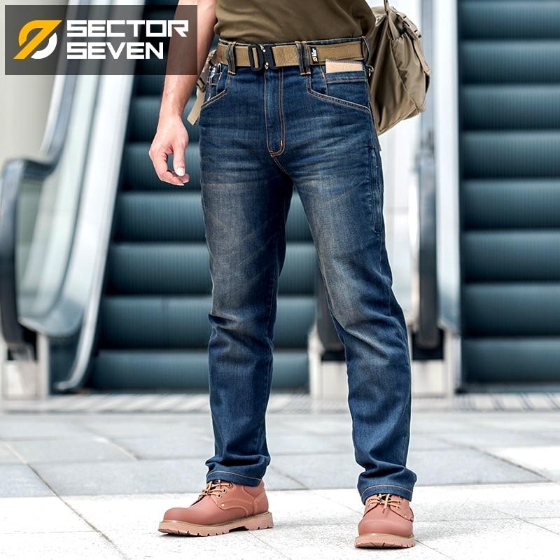 Sector Zeven Mannen Nieuwe Slim City Casual Jeans Midden Taille Rechte Denim Jeans Classic Indigo Blauw Zwart Jeans Wear slip-in Spijkerbroek van Mannenkleding op  Groep 1