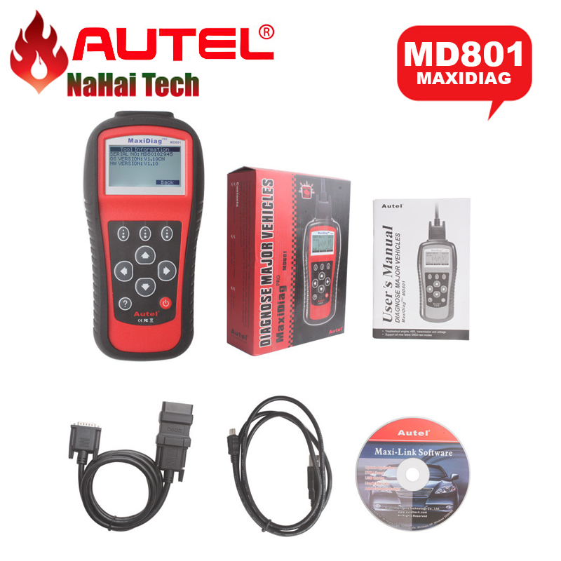 2017 A++Quality AUTEL MaxiDiag Pro MD801 4 in 1 OBDII Code Scanner (JP701+EU702+US703+FR704) MD 801 Auto Diagnostic-tool