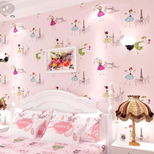 Modern Cartoon Kid Wallpaper Children Room Papel De Parede Roll 3D Pink Ballet Girl Princess Room Bedroom Non-woven Wallpaper