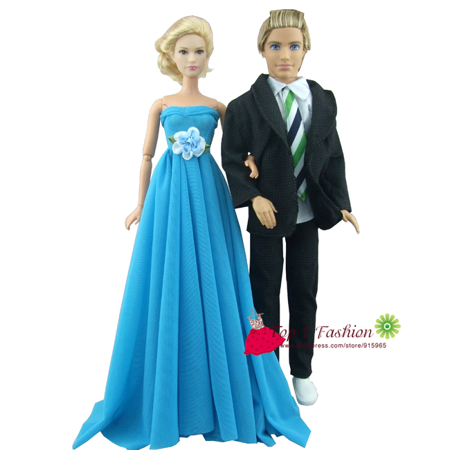 Free Shipping 2sets Sky Blue Evening Party Wedding Dress For Barbie