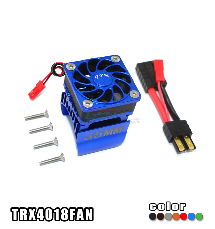 Free shipping TRAXXAS TRX-4 TRX4 82056-4 Aluminum alloy motor cooling fan + 35MM motor heat sink for RC car set TRX4018FAN qqv6 aluminum alloy 11 blade cooling fan for graphics card silver 12cm