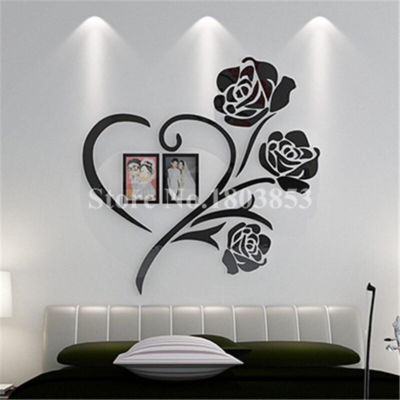Liefde Hart Bloemen Frame Schilderij 3D Crystal Acryl Goedkope ...