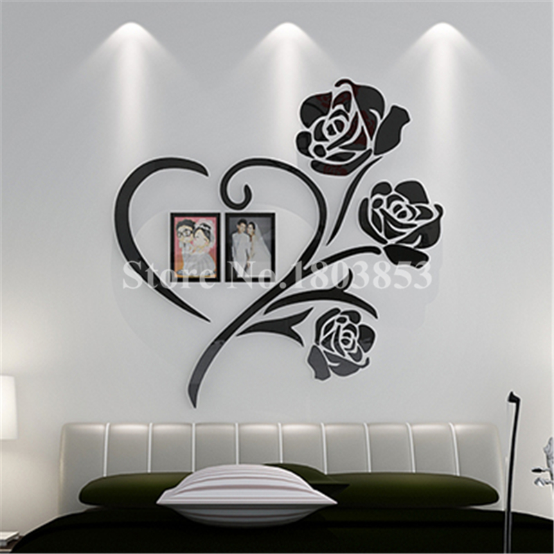 Love Heart Flowers Frame Painting 3D Crystal Acrylic Cheap Wall Stickers  Bedroom Wall Hangings Sticker Mural Wedding Decor Gift In Wall Stickers  From Home ...