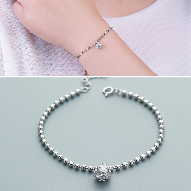 Factory Direct Sales S925 Silver Bracelet Female Fashion Beads Hanging Rivets