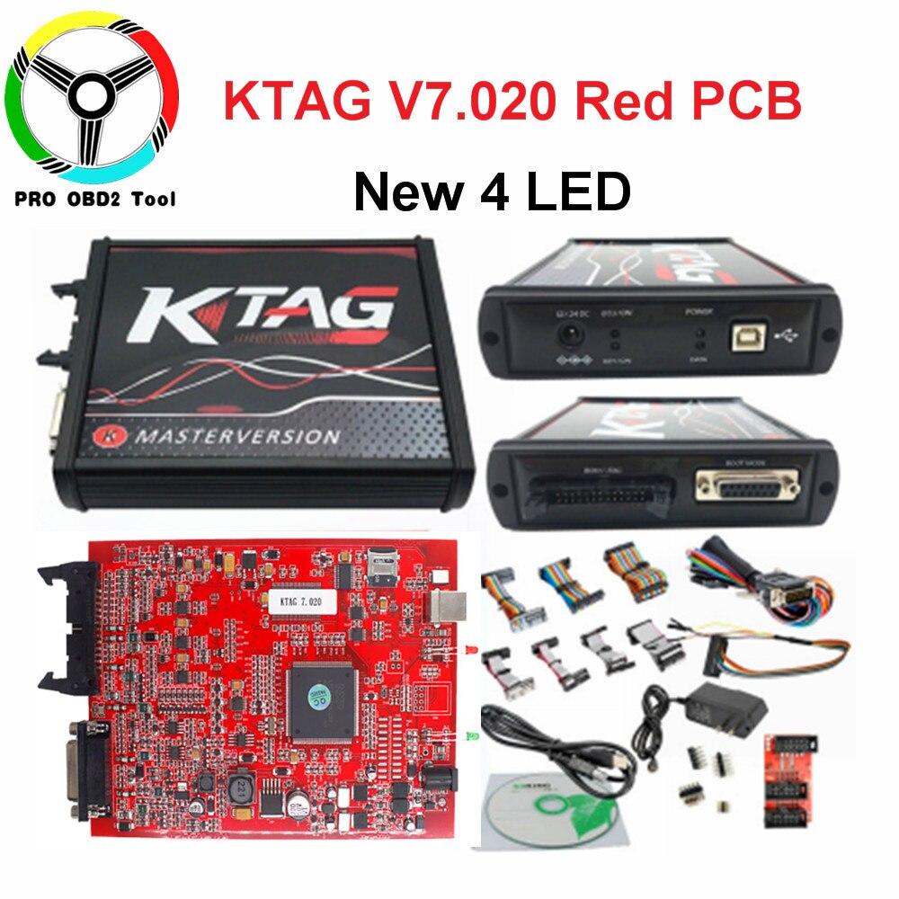 2019 Ktag V7.020 Avec 4 led Rouge PCB ECU Chip Tuning Aucun Jeton Limitée K tag ECU Maître 7.020 Comme ECM TITANE + Winols 2.24 Pour Le Cadeau