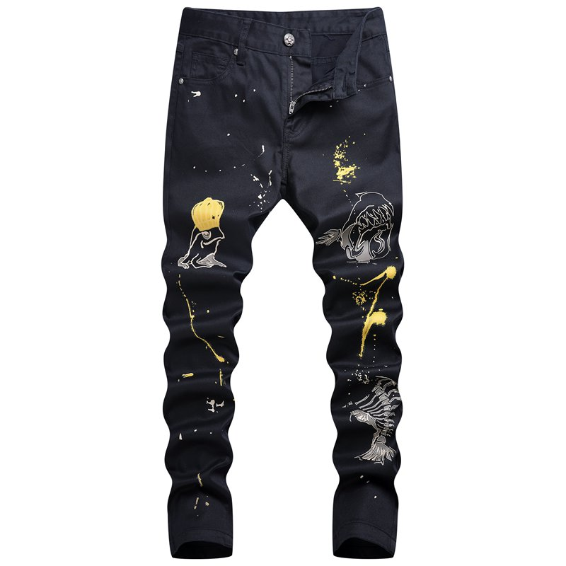 Vintage Skull Print Man Black Jeans Fashion Slim Long Denim Trousers F01