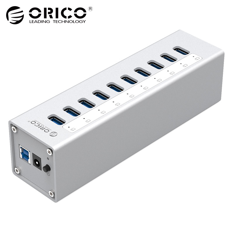 Aluminum 10 Ports HUB ORICO A3H10-SV USB3.0 Splitter with 12V3A Power Adapter Via-Labs VL812 Chip Silver hub usb orico на 10 портов usb2 0 контроллер via labs vl812 не требует внешнего питания orico