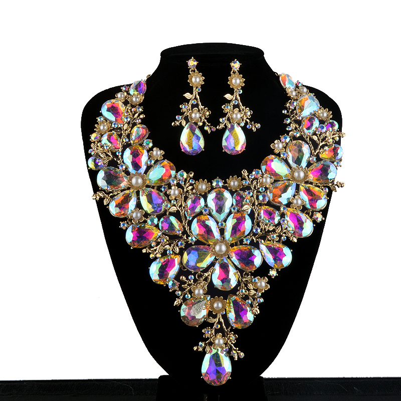 high end bridal necklace earring sets women statement wedding decoration pearl and ab dropwater. Black Bedroom Furniture Sets. Home Design Ideas