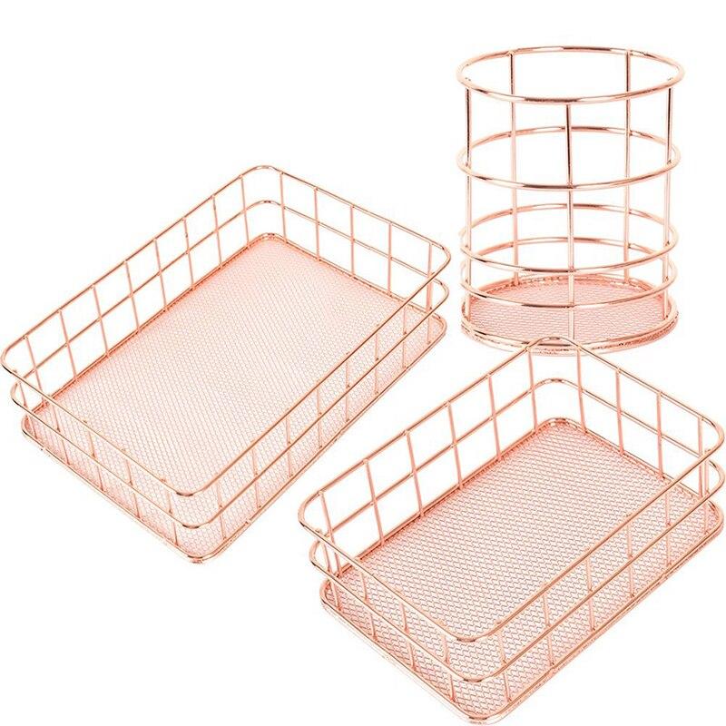 Copper Storage Basket Cosmetic Organizer Rose Gold Makeup Brushe Holder Metal Wire Toiletry Collection Basket Bathroom Shelves44