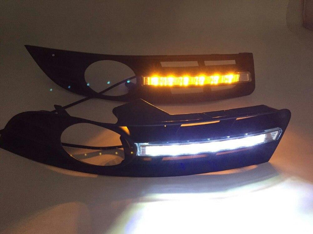 ФОТО Osmrk led drl daytime running light for volkswagen VW Passat B6 2006-2011, with yellow turn signal, wireless switch