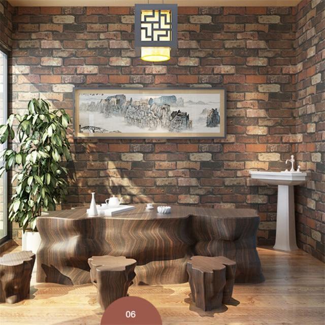3D Shabby Ziegelstein Tapete Wohnzimmer TV Hintergrund Dekoration PVC  Vintage Retro Restaurant Hotel Decor