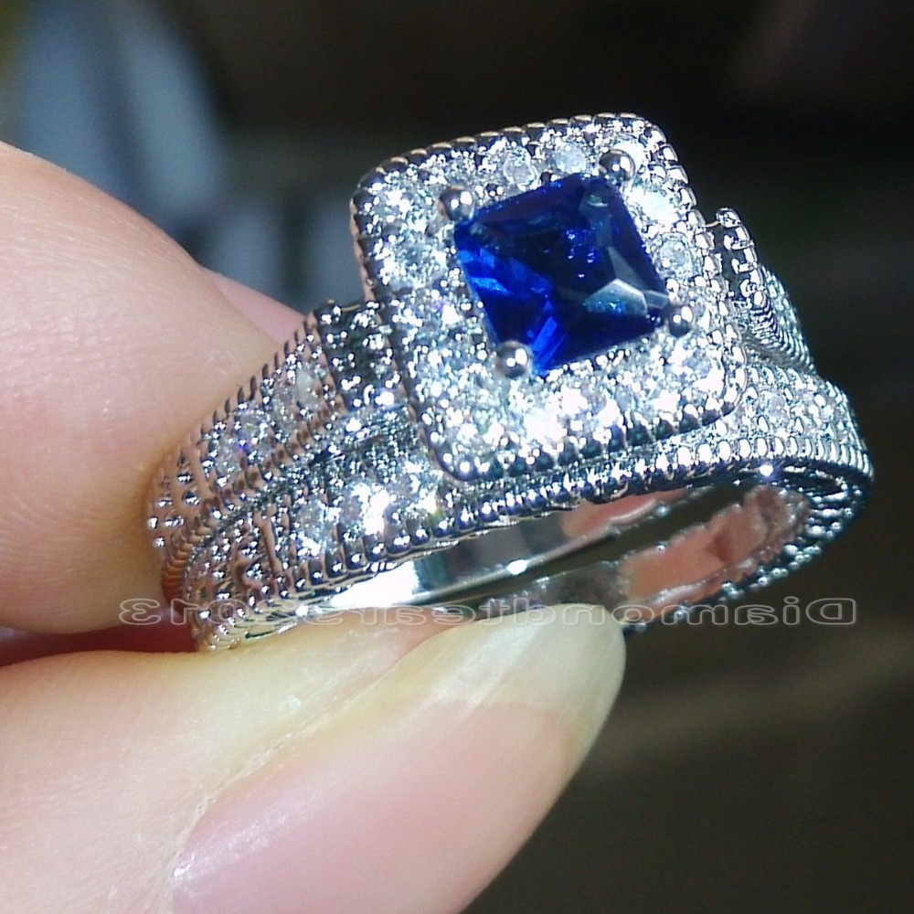 Aliexpresscom buy size 6 7 8 9 princess cut jewelry for Blue sapphire wedding ring set