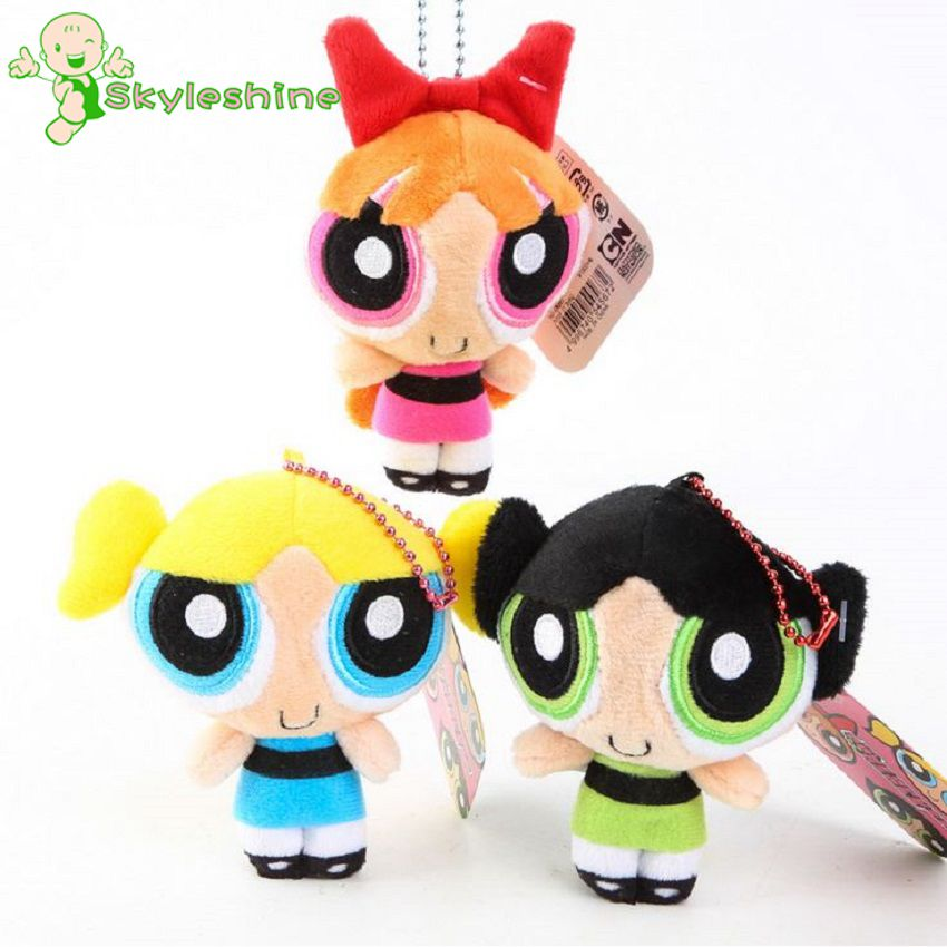 Skyleshine  3pcs/Lot 12cm Girl Toys The Powerpuff Girls Bubbles Blossom Buttercup Stuffed Plush Doll Kawaii Toy For Girls S4200