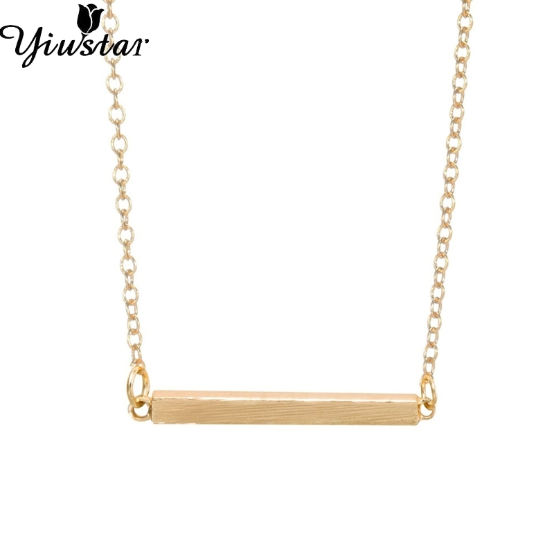 Yiusta Women Necklaces Gold Simple Square Bar Necklace for Girls - Fashion Jewelry