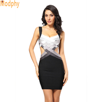 Women Sexy Bust Lifting Thread Bandage HL Dress Off Shoulder Gradient Celebrity Style Club Party Wear