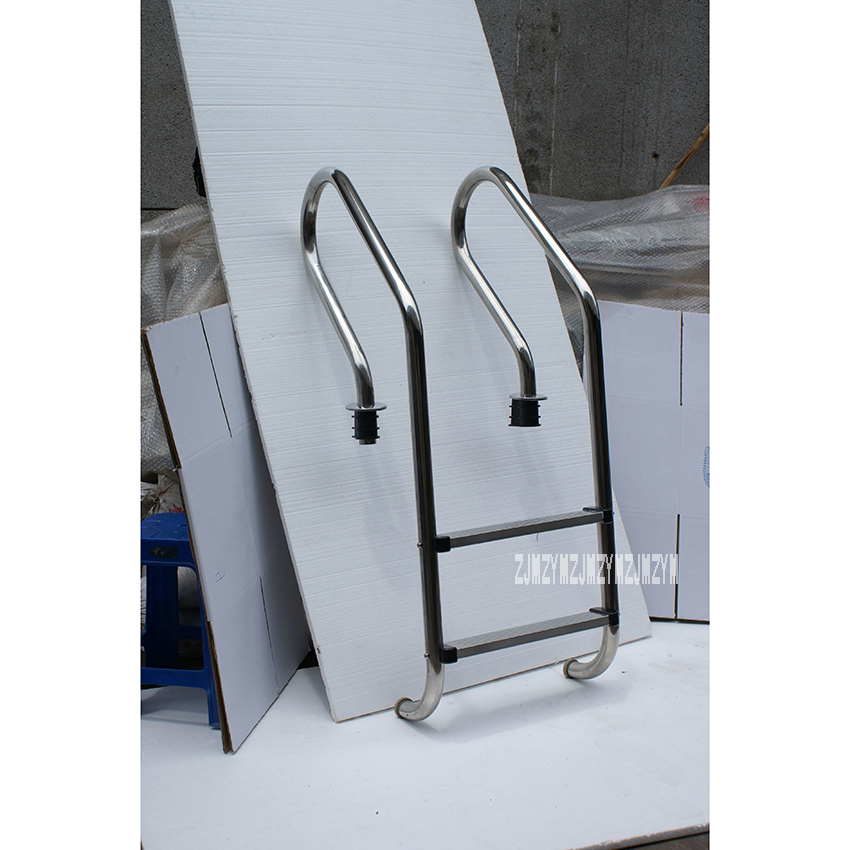 130cm Height 2 Step Ladder 304 Stainless Steel In-Ground Swimming Pool Equipment Anti Skid Ladder Suit for 0.8-1.0m Depth SF-215