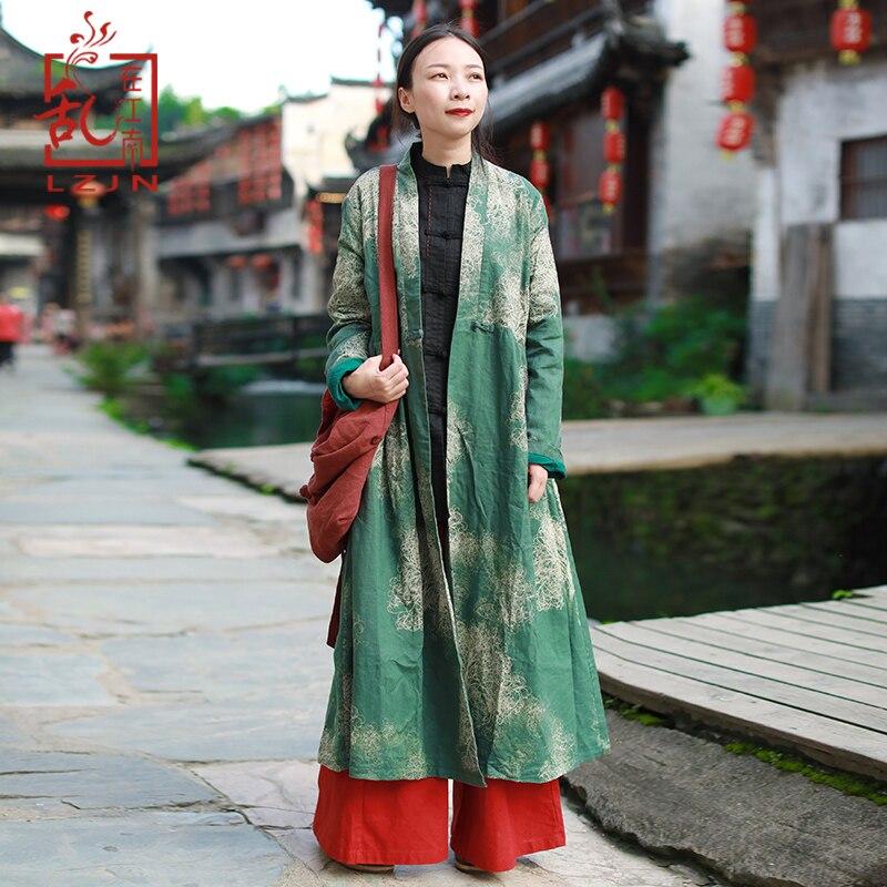 c10f4b84f34 LZJN 2019 Autumn Women Trenchcoat Long Jacket Cotton Linen Duster Coat  Vintage Chinese Windbreaker High Waist Ethnic Cardigan