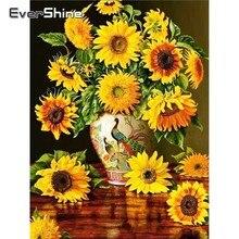 EverShine Diamond Painting Full Square Flowers Picture Rhinestones Art Mosaic Bead Embroidery Sunflowers Kits
