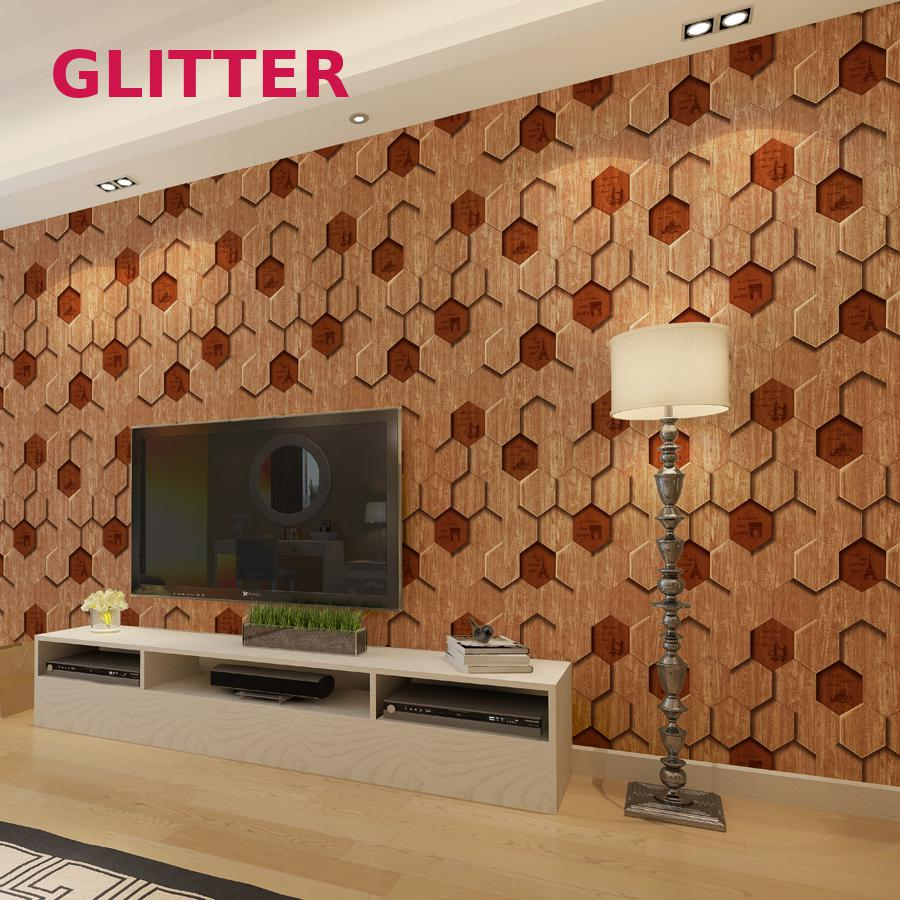 Modern 3d Wood Pattern Wallpaper Tile Shape 6-sided Wood Texture Wallpaper Living Room Background English Letters Wallpaper Roll iron steel texture background pattern floor mat
