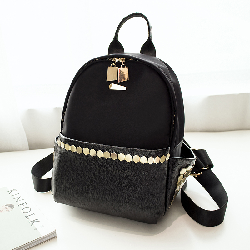 ФОТО Fashion High Quality Bling Rivet Backpack Women Backpack Leather Backpack Printing Backpack