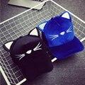 HT518 Корейский Стиль Осень Зима Шляпа Женщины Cute Cat Стиль Бейсбол кепки Вышивка Swag Хип-хоп Cap Кошка Уголок Gorras Casquette Hat