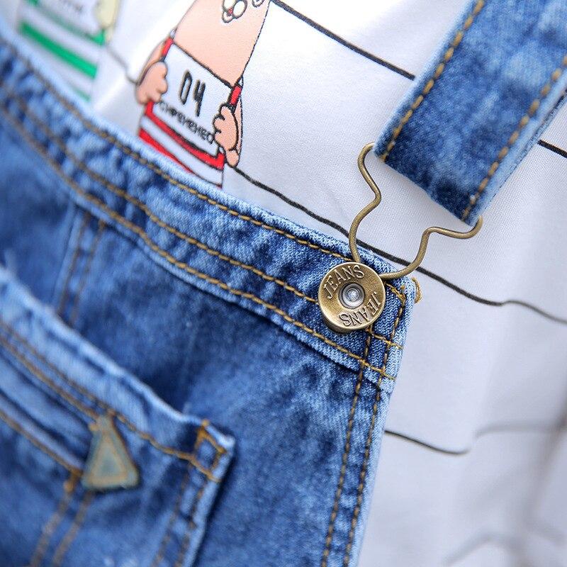 Pantalon Haute Taille Lâche Bleu Cher Étudiant Jean Déchiré Salopette Femme Jeans Moins vwOpwq1d