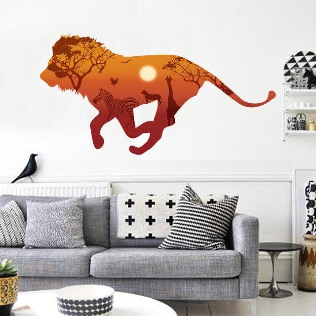 3d Running Lions Giraffe Pferd Wandaufkleber Steuern Dekor Wohnzimmer  Afrikanische Graslandschaften Tiere Landschaft Wandtattoos Pvc