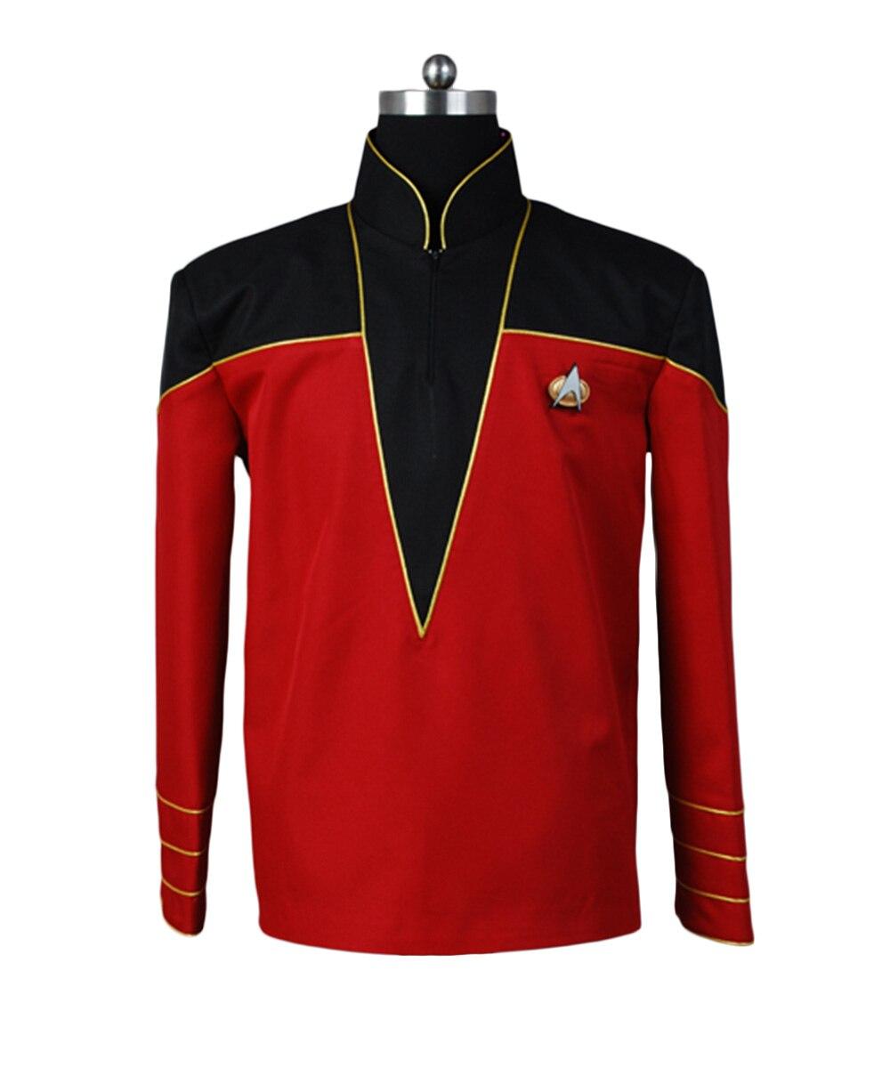 Star uniforme Trek découverte amiral/officier uniforme petit haut veste rouge manteau Halloween Cosplay Costume pour adulte