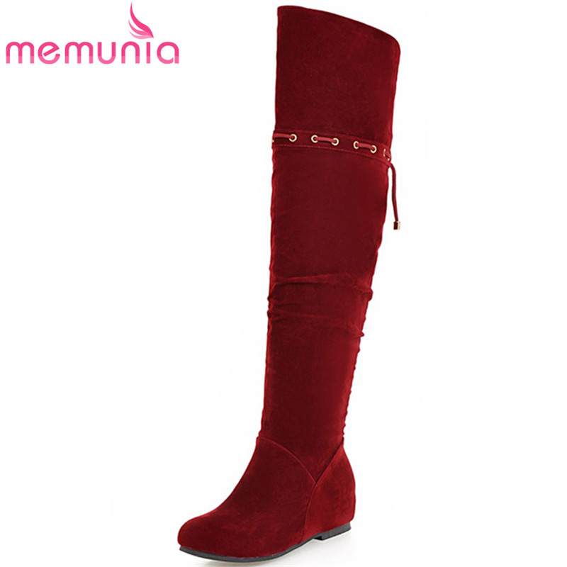 MEMUNIA 2018 Winter shoes woman over the knee boots flock solid zipper height increasing shoes fashion long boots size 34-43 memunia top quality over the knee boots fashion elegant womens boots female zip flock solid med heels shoes woman big size 34 44