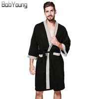 BabYoung 2017 Winter Men Robes Strap Unisex Cotton Hotel Sauna Pajama Waffle Long Sleeve Towel Spa