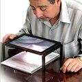 Mulheres Homens Óculos De Leitura com Luz LED A4 Página Inteira Grande Lupa Dobrável 3X Lupa Lupa Mãos para a Leitura