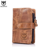 BULLCAPTAIN Retro Luxury Genuine Leather Men Wallets High Quality Brand Design Men Short Wallet Vintage Cowhide
